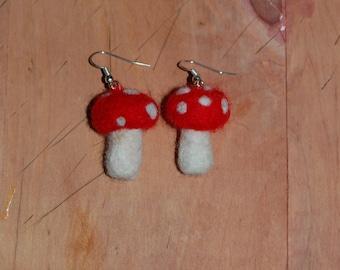 Needle Felt Toadstool Earrings