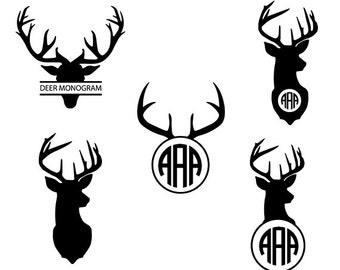 Deer svg - deer monogram clipart  - deer head silhouette - antler svg vector file digital download svg, dxf, eps, png