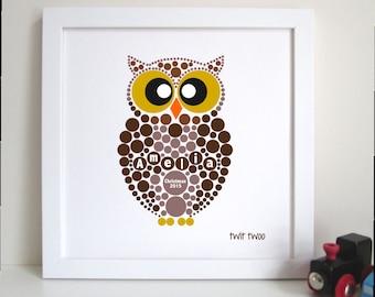 Personalised Owl Kids Framed Art Print
