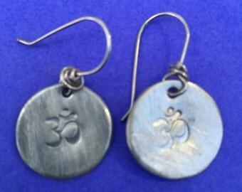 Small Sterling Silver Om' Earrings
