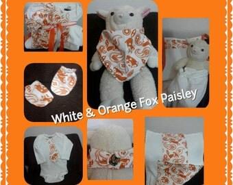 White & Orange Fox Paisley set