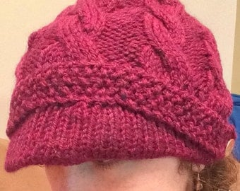 Burgundy Cable Knitted Hat with Bill