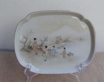 Antique Japanese Meiji Era Yokohama Porcelain Plate sandwich cake plate Geisha Hand Painted Eggshell Side Salad plate Vintage Collectible