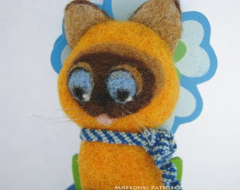 Made to Order Handmade Brooch Needle Felting Kitten Wool Jewerly Needle Felting Brooch Cat Felted Cutest Gift Handmade Brooch Kitten