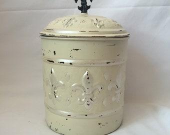 Large Restored Vintage Metal Jar/Canister
