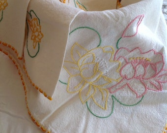 Vintage Cotton Lotus Flower Hand Embroidered Table Cloth  & Vintage Napkin Set Hand Made
