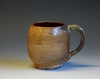 Handmade Artisan Ceramic Mug, Shino, Red Pottery -- Medium