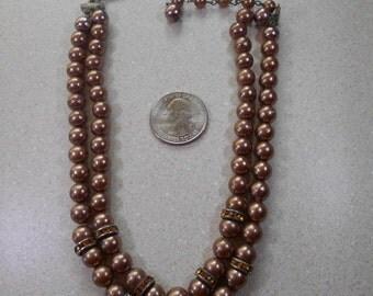 Vintage Brown Costume Pearls Choker