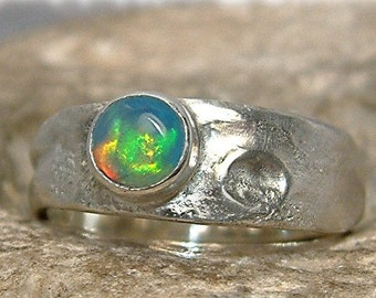 Opal ring -- Artistic ooak Sterling Silver ring with opal