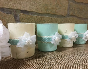 Distressed rustic sea foam and vintage white votive candle holder