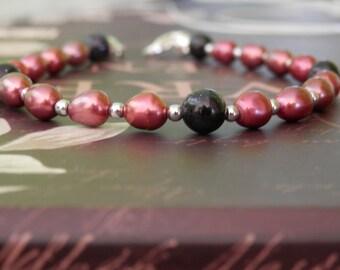 Blue Goldstone Bracelet, Blue Bead Bracelet, Pearl Bracelet, Mothers Gift