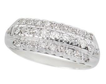 Wedding Ring Triple Row Diamond Stackable
