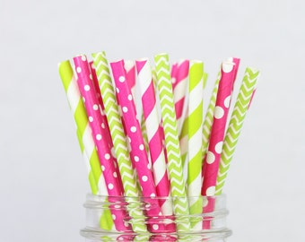Strawberry Limeade Paper Straws - Hot Pink Lime Green Colourful Paper Straws, Pink, Lime, Polka Dots, Stripes, Chevron Party Decor