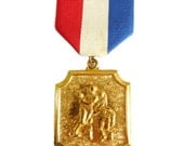 Vintage American Football Medal Pin, Goldtone Brass, Sports memorabilia, 1960s 1970s, Red Blue White