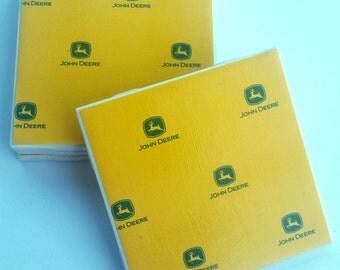 yellow with green john deere ceramic coasters