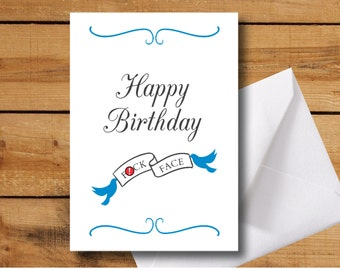 Happy Birthday F*ck Face Greeting Card - Offensive Birthday Card Funny birthday card rude birthday card printable birthday instant download