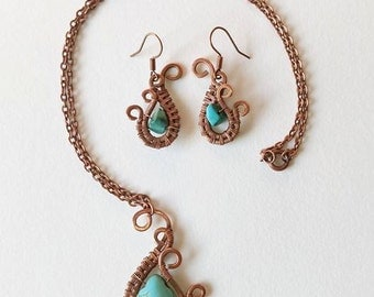 Copper necklace and earring with turquoise