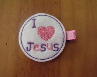 Handmade Boutique Double Prong Lined Hair Clip - I Love Jesus Embroidered Feltie - God, Christ, Religion, VBS