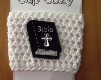 Handmade Cup Cozy for Coffee, Soda Cans, Mason Jars - Bible Cross Embroidered Feltie - God, Christ, Religion, VBS, Church