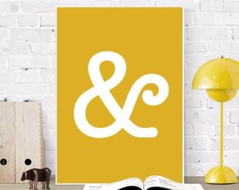 Ampersand Print, Typography Poster, Minimal Printable Art, Mustard Office Decor, Modern Monochrome Wall Art, Yellow Scandinavian Design