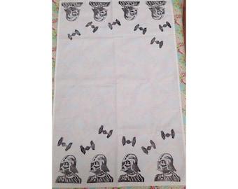 Handmade Lino Print Darth Vader and Tie Fighter Tea Towel