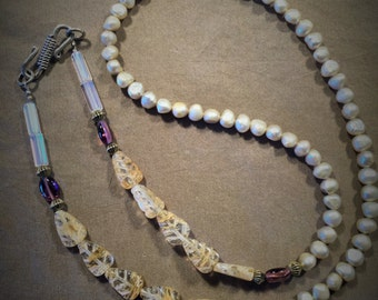 Freshwater Pearls and Beaded Necklace with Sterling Silver S Clasp