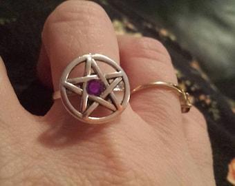 Custom Birthstone Pentagram Ring