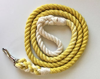Yellow Solid Ombre or Marbled Cotton Rope Dog Leash