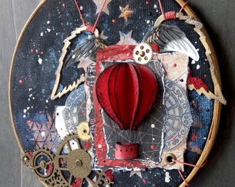 Steampunk Hot air balloon, hoop art, Embroidery hoops, Wall Art
