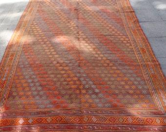Pastel cicim vintage turkish kilim rug - 10 x 6 ft