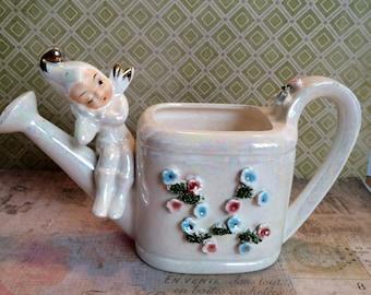 Lefton Pixie-Elf Watering Can Planter, kitsch