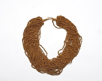 Necklace beads color gold, made in kenya, handmade