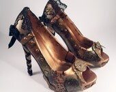 Steampunk Copper Black Lace Custom Heels, Hand Painted Shoes