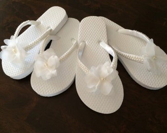 "Flower Girl flip-flops, satin and pearl flip-flops fancy flip-flops chiffon ""flower"" with Pearl"