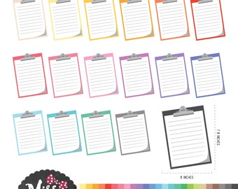 26Colors Clipboard Clipart. Office Supplies Clipart - Instant Download