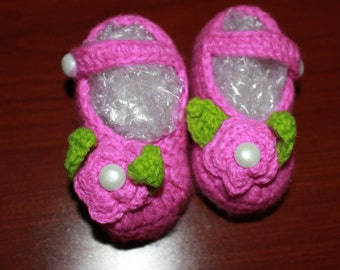 Baby Girl Crochet Shoes Purple  2-8 months