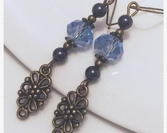 Swarovski pearl earrings blue crystal antique bronze earrings charm earrings brass earrings rustic antique bronze vintage look earrings