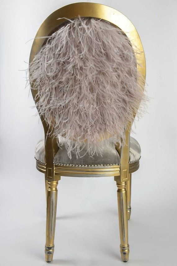 grey silk velvet and ostrich feather upholstered side chair. Black Bedroom Furniture Sets. Home Design Ideas
