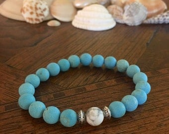 8mm Matte Blue Turquoise Round Beaded Bracelet