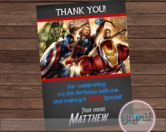 Avengers Thank You Card, The Avengers Thank You Note, The Avengers Birthday, Superheroes Thank You card, Digital File