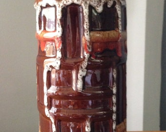 Mid-century West German Art Pottery Vase - Tall, Cylindrical