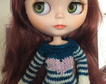 Hand knit tunic sweater with a BIG heart