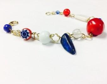 American Spirit Gold Patriotic Gemstone Bracelet