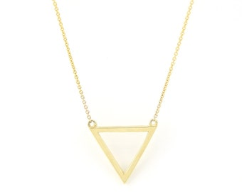 Triangle Pendant Necklace 14K Solid Gold Necklace Unique Necklace Minimalist Necklace Layering Necklace