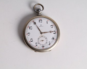 Antique Old Swiss Made Omega Open Face Pocket Watch.