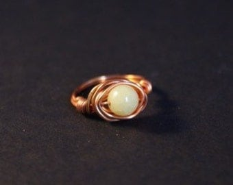 Copper wire wrapped lemon jasper ring