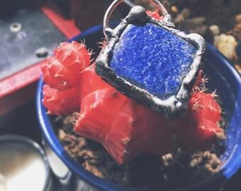 Lapis Pendant // diamond shaped pendant // Blue Lapis // Handmade