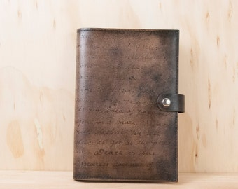 Personalized Leather Journal - Handmade Notebook with Custom Inscription in the Smokey Pattern - Antique Black - Third Anniversary Gift