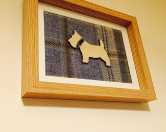 Unique handcrafted tartan frame with wooden Scottie dog