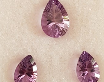 3 Pieces of DARK AMETHYST PEARS Facetted Conclave Cut